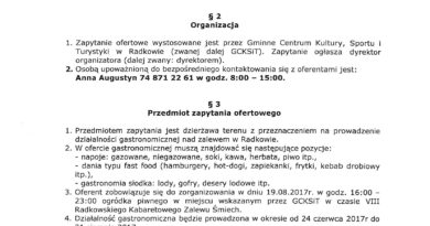 ZAPYTANIE OFERTOWE – Działalność gastronomiczna Zalew Radków