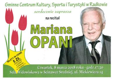 Recital Mariana Opani już 8 marca w Ścinawce Średniej